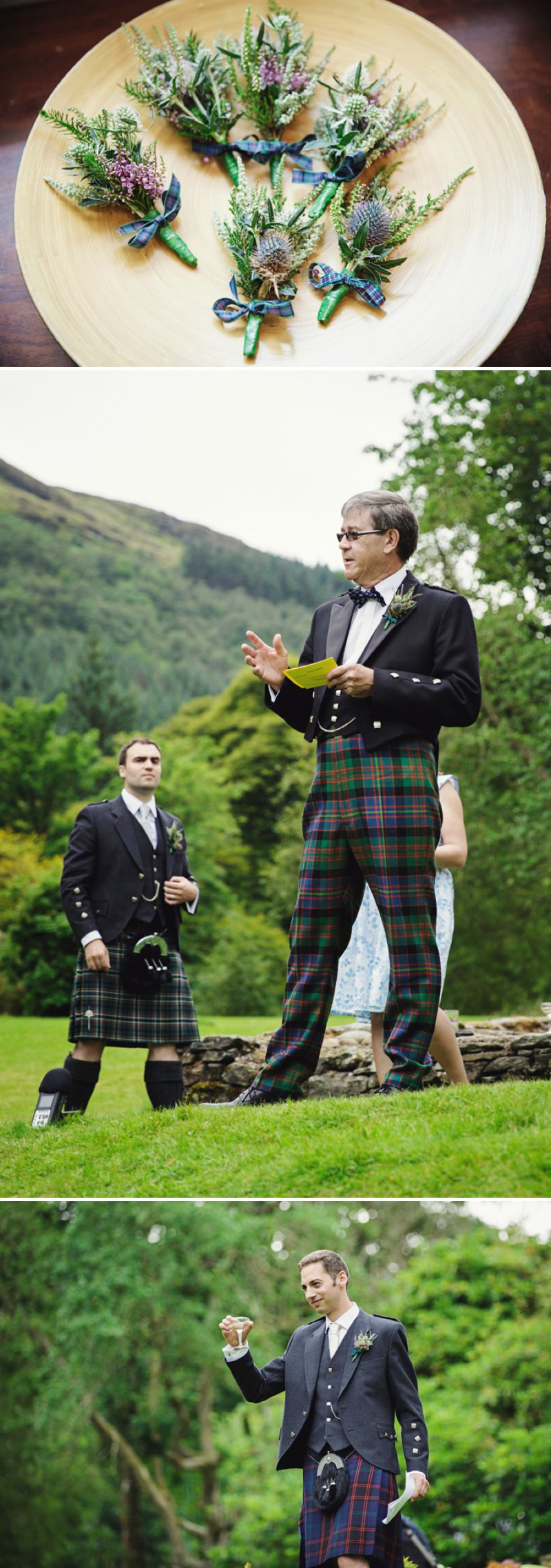 a rustic scottish beach wedding with bride in justin alexander and