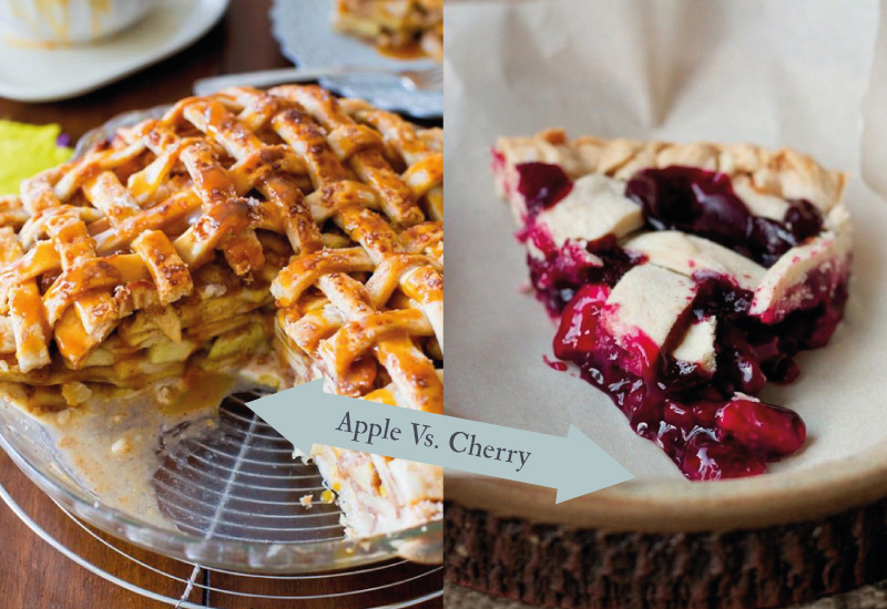 apple vs cherry Friday Face Off…Apple vs. Cherry Pie.