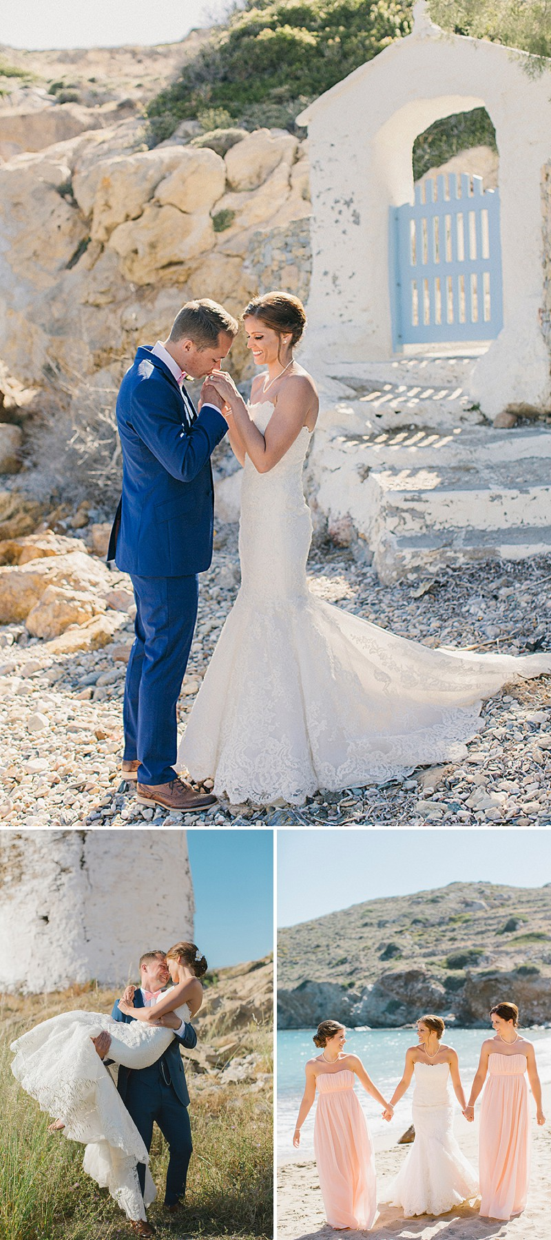 A Greek Destination Wedding On Tzamaria Beach In iOS With A Enzoani Dress And Peach Bridesmaid Dresses With Photography By Anna Roussos._0006