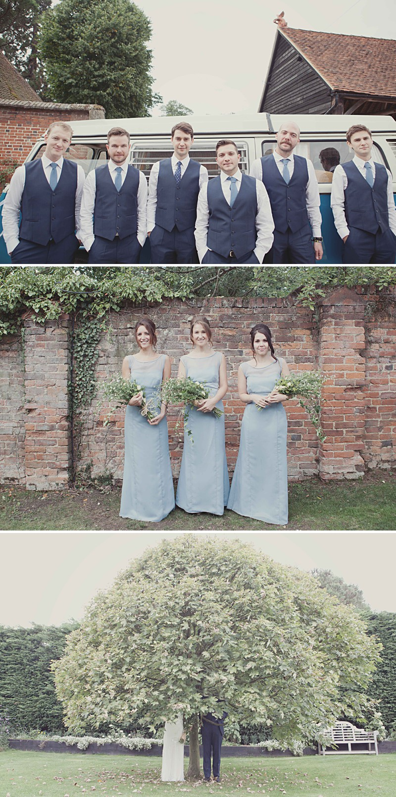 A Rustic Wedding At Gaynes Park With A Jenny Packham 'Eden' Dress And Dusky Blue Bridesmaids Dresses With Foliage Bouquets By Philippa James Photography._0001