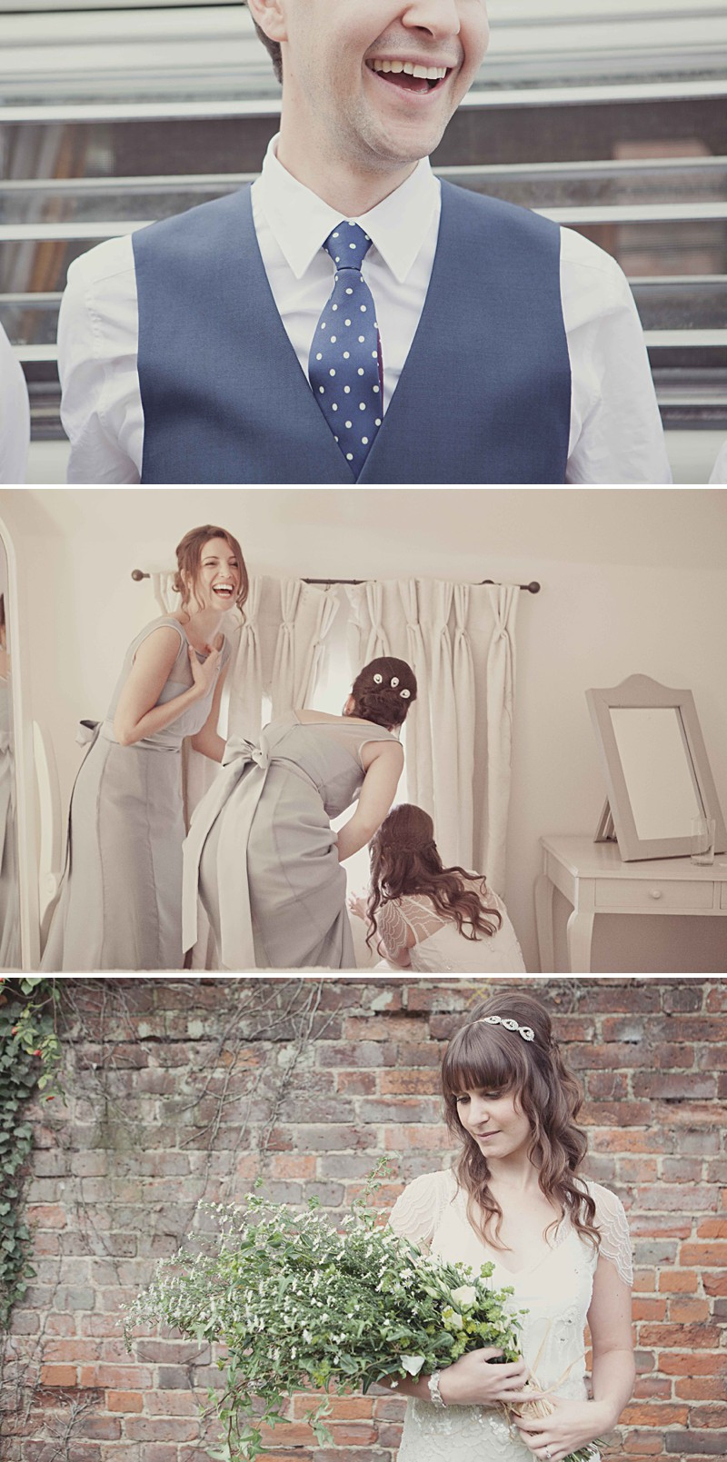 A Rustic Wedding At Gaynes Park With A Jenny Packham 'Eden' Dress And Dusky Blue Bridesmaids Dresses With Foliage Bouquets By Philippa James Photography._0002