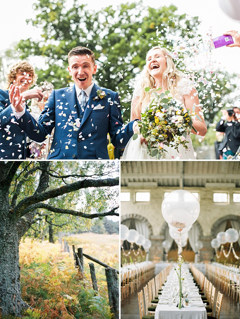 A Scottish Highlands Wedding At Coos Cathedral With A Raimon Bundo Weddding Dress And A Craspedia And Succulent Bouquet Photographed By Ann Kathrin Koch._0004