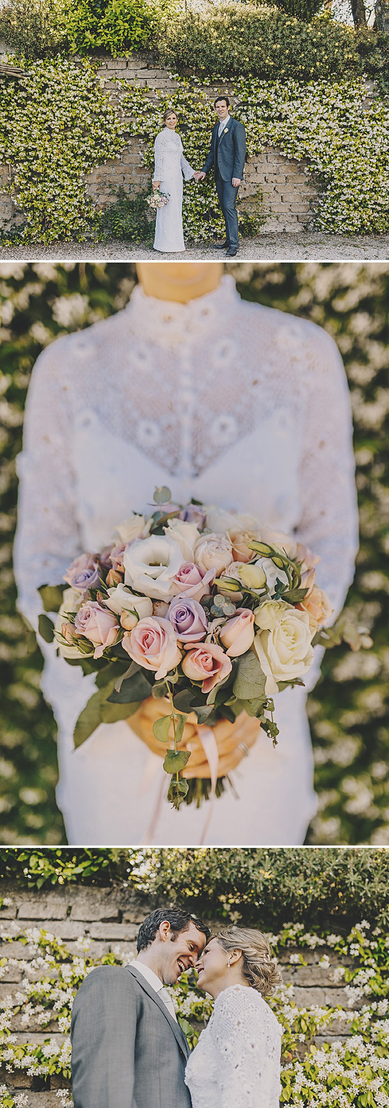 An Italian Destination Wedding At Borgo di Tragliata Near Rome With A Vintage Crotchet Wedding Dress and Sorbet Rose Bouquet Photographed By Mark Pacura._0004