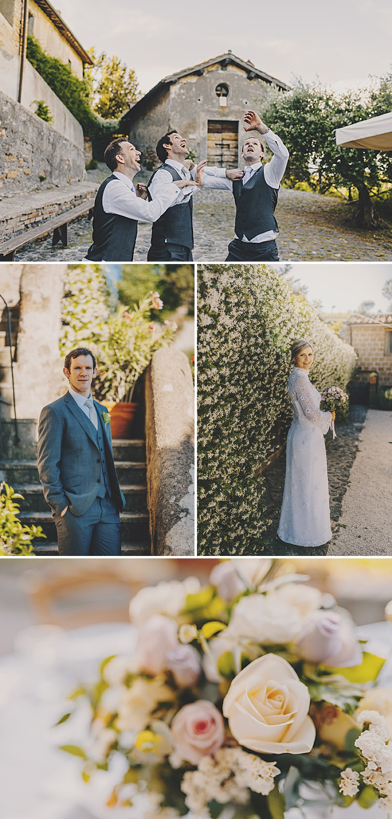 An Italian Destination Wedding At Borgo di Tragliata Near Rome With A Vintage Crotchet Wedding Dress and Sorbet Rose Bouquet Photographed By Mark Pacura._0005