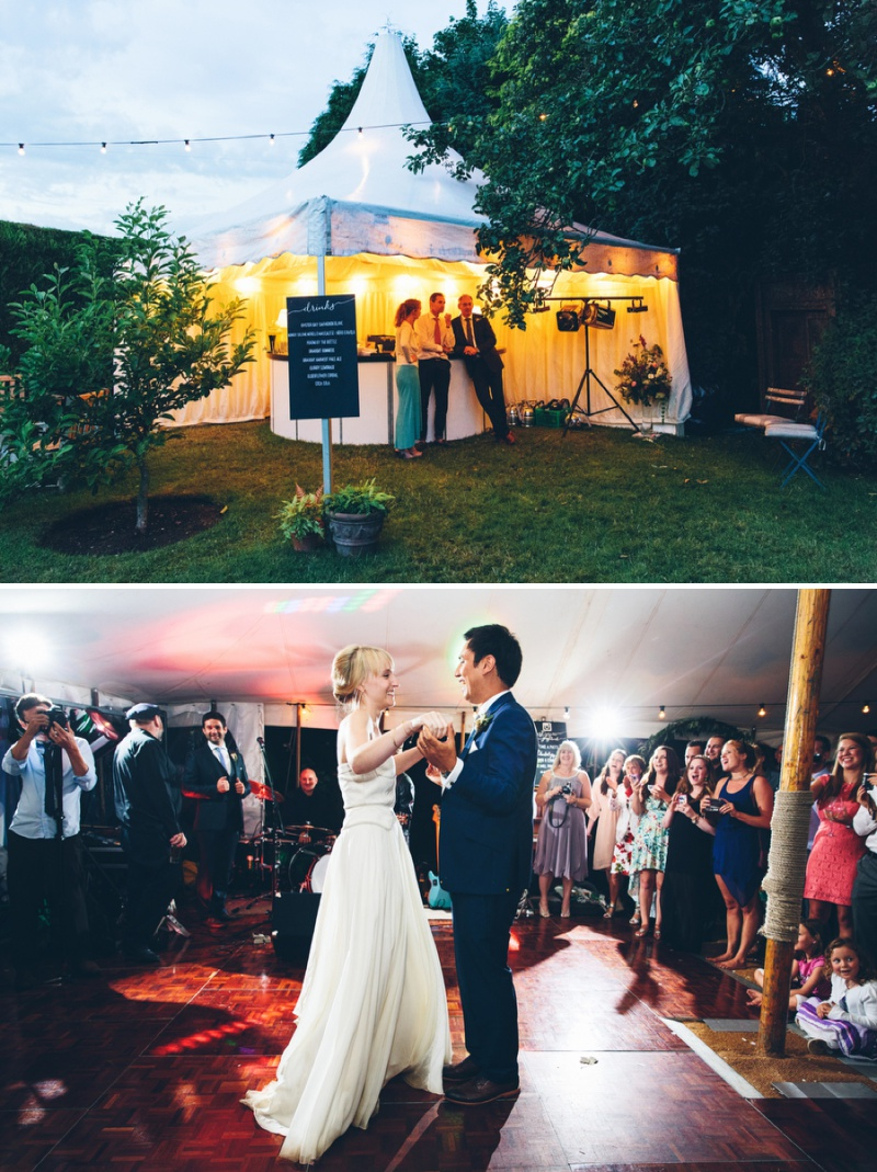 Beautifully Styled Elegant Yet Relaxed Marquee Wedding In Nottinghamshire With Bride In Nanette By Catherine Deane And Groom In Navy Suit By Reiss With A Floral Arch And Flower Box Created By Floraldeco 12