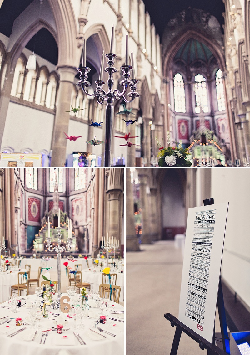 DIY Wedding At The Monastery In Manchester With Bride In Bespoke Gown And Bridesmaids In Green Dresses From Dig For Victory With An Unusual Home Made Table Plan, Origami Cranes And A Flashmob Dance 10