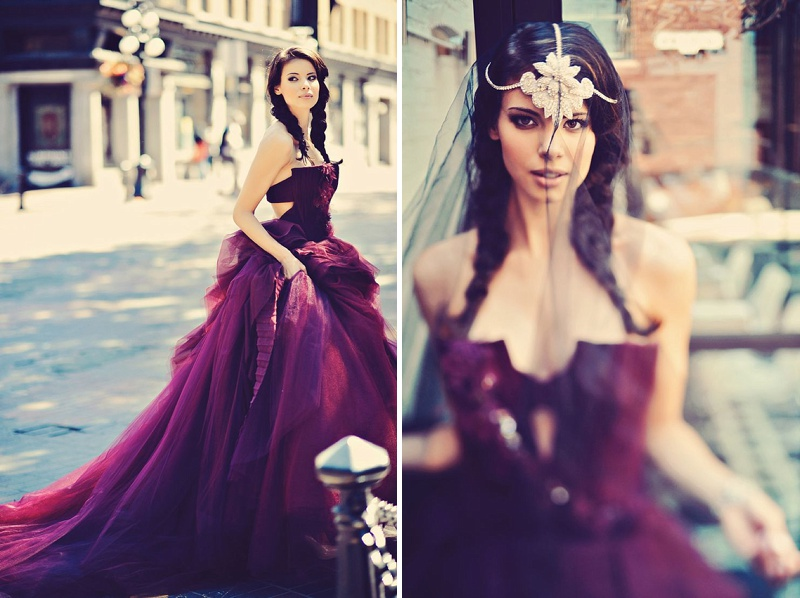 Plum Wedding Inspiration Featuring A Deep Purple Vera Wang Gown And ...