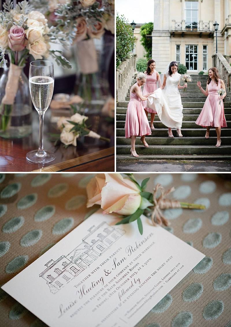 An Elegant Vintage Inspired Wedding At The Assembly Rooms Bath With Bride In Baroque By Suzanne Neville And Bridesmaids In Pink TwoBirds Gowns With Flowers From Flowers By Passion And Images From Helen Cawte Photography 1
