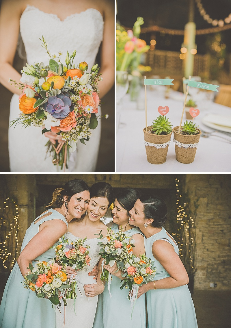A Stylish Wedding At Cripps Stone Barn With A Pastel Colour Scheme And Bride In Fishtail Enzoani Gown With Coral Shoes From Clarks And Bridesmaids In Baby Blue Dresses With Groom In Checked Suit From Reiss 1