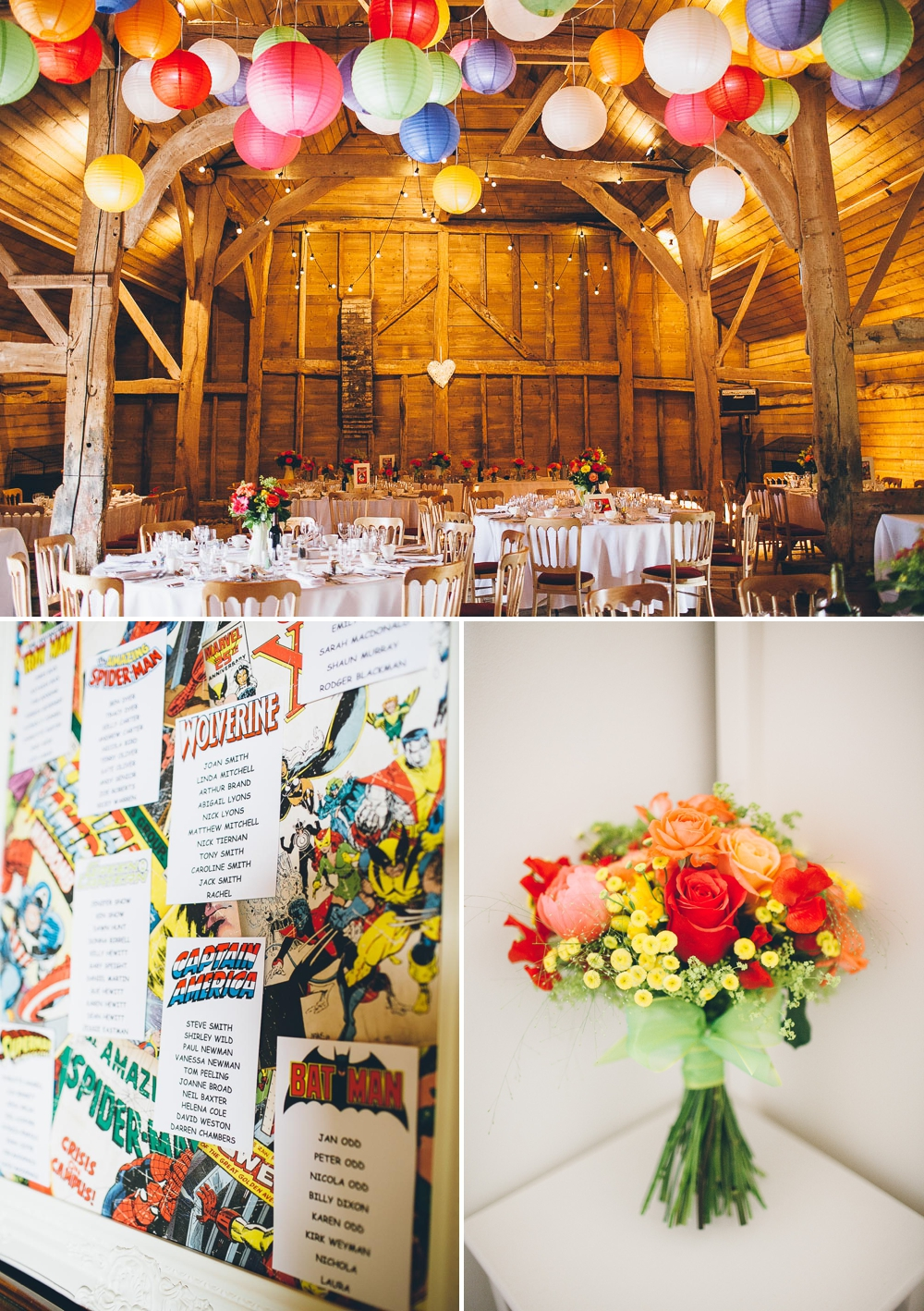 A bright coloured rustic summer wedding with green maids and comic book decor with photography by lemonade images_0001