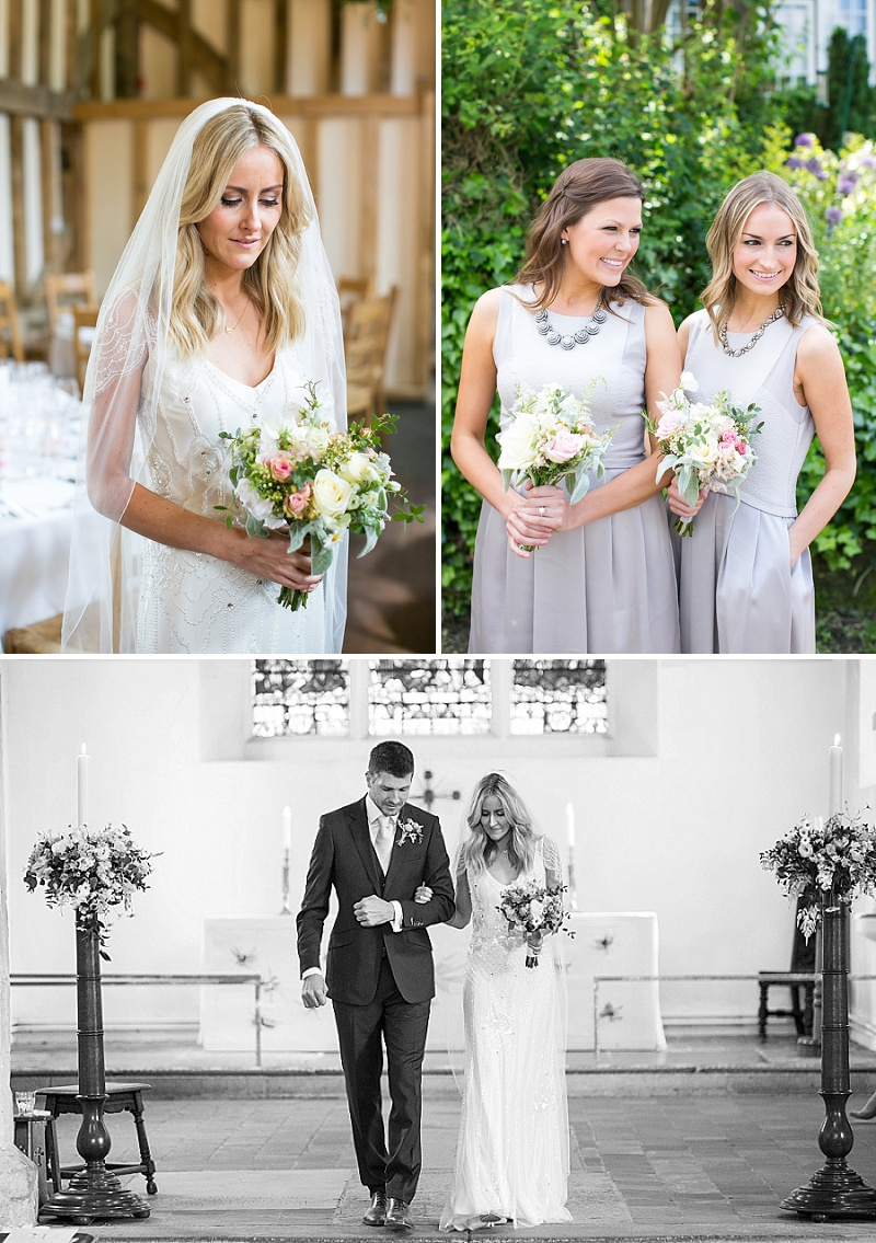 An Elegant Wedding At Great Street Barn In Surrey With Bride In Eden By Jenny Packham With Evelyn By Jimmy Choo Shoes And Bridesmaids In Pale Grey Reiss Dresses 1
