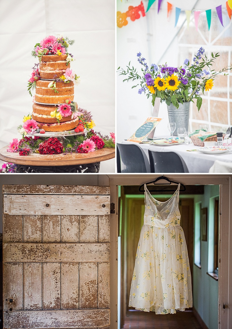 Rustic Pub Wedding With A Marquee With Bride In 50s Style Print Dress From Beyond Retro With Lots Of Brightly Coloured Details And A Vintage VW Camper Van And A Picnic Style Wedding Breakfast 1
