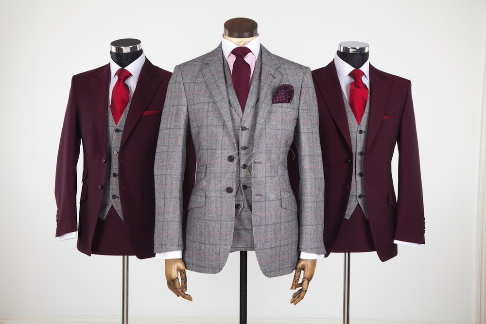 This is an incredible suit because it takes a classic fabric and turns it into an true statement, complete with the flared pants, asymmetrical blazer, and velvet blazer tie. Brava. Available in sizes 14–