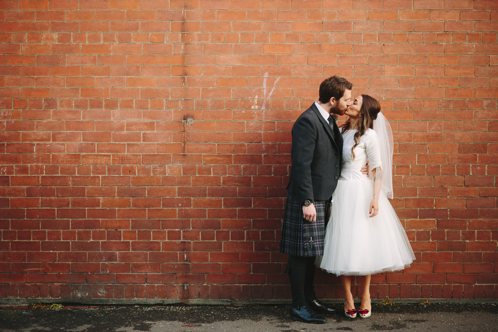 Scottish rustic winter wedding bride in tea length audrey for Shoes for tea length wedding dress