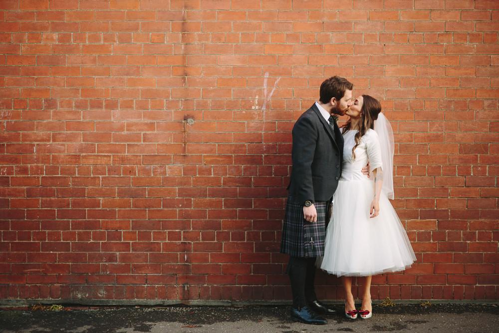 Scottish Rustic Winter Wedding Bride In Tea Length Audrey Hepburn Inspired Dress Amp Vivienne