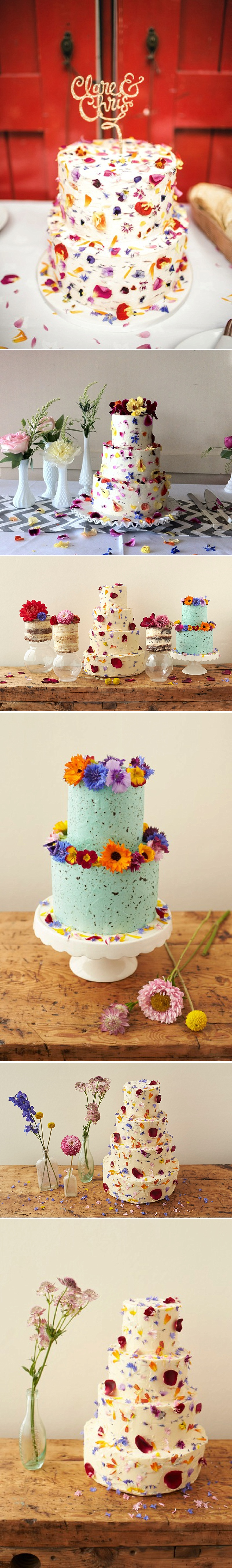 cake decorated with edible flowers by bees bakery