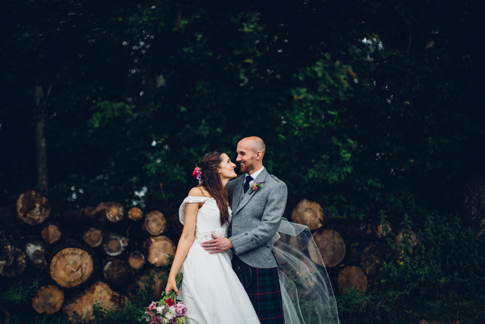 Rock My Wedding Groom Gift : Sassi Holford Mischa Bridal Gown & Groom in Kilt Scottish Wedding