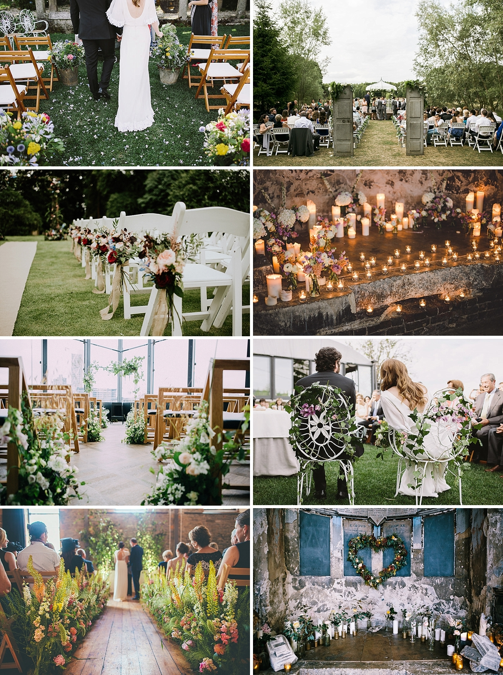 Beautiful and unique inspiration on how to decorate your wedding aisle for your big day using floral arches, vintage doors and romantic candles