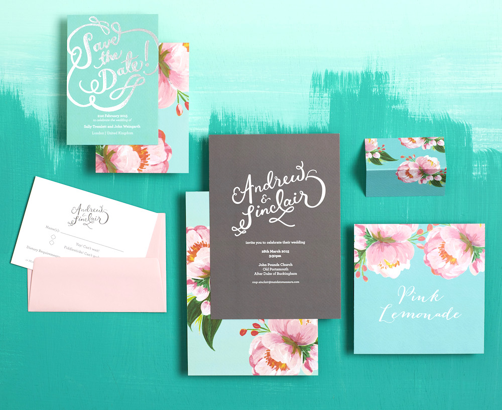 Semi Custom Invitations with Tree Peony Swatch // BerinMade