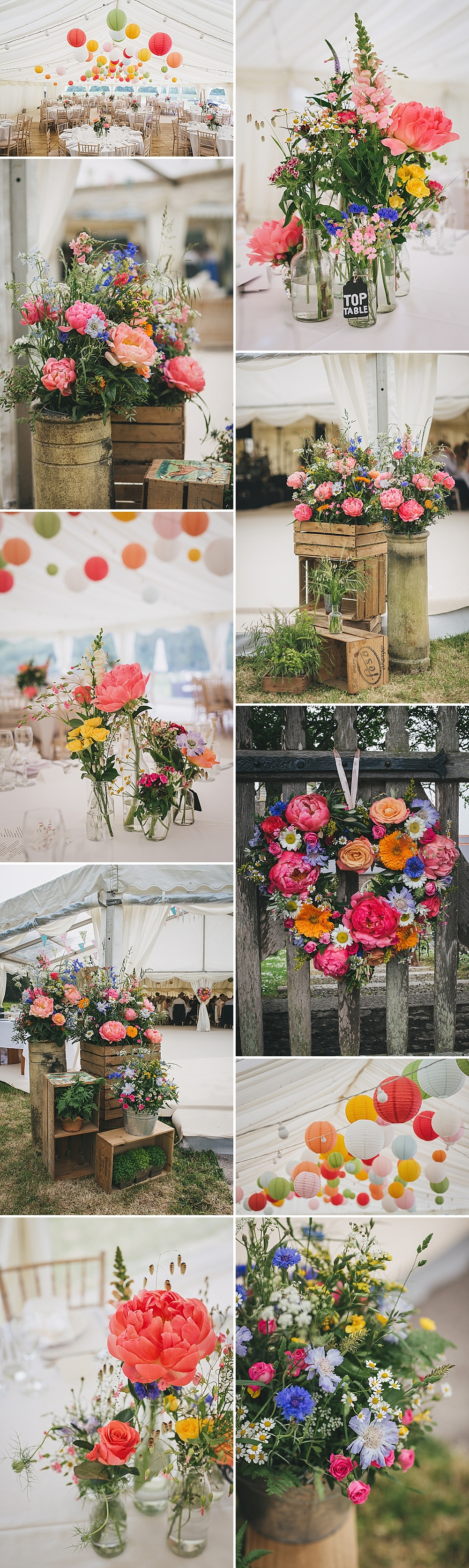 Rustic Marquee Wedding with Bright Lanterns & Wild Flowers by Helen Lisk Photography