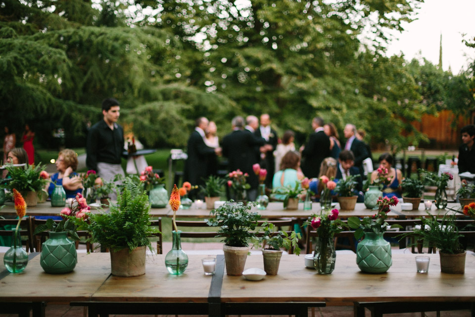 Outdoor Spanish Reception With Vibrant Plant Pot