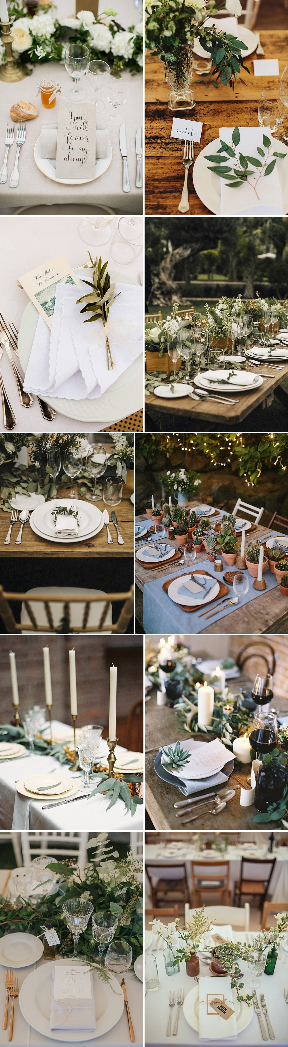 Place Settings For Weddings Using Foliage