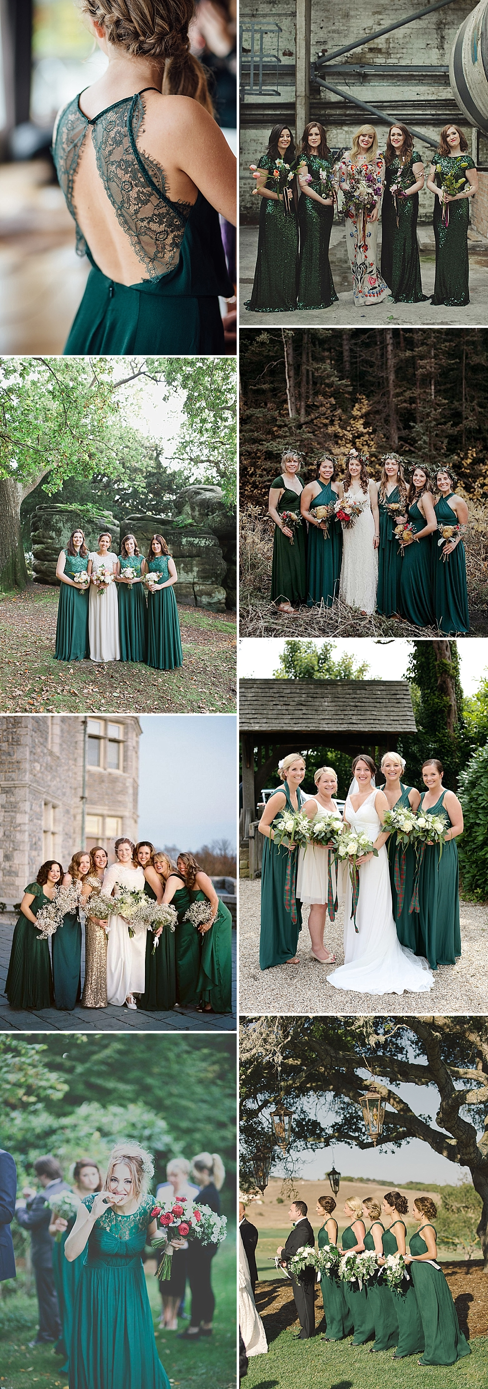 Autumn bridesmaid trends including burgundy forest green for Forest green wedding dress