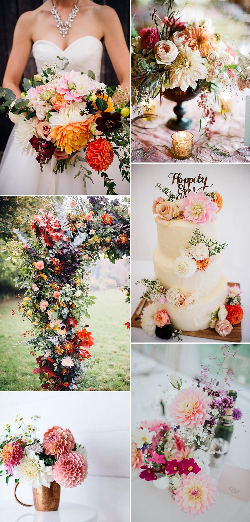 Dahlia Wedding Bouquet Floral Arrangement Ideas