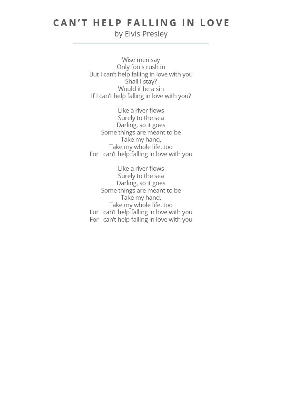 Wedding reading song lyrics