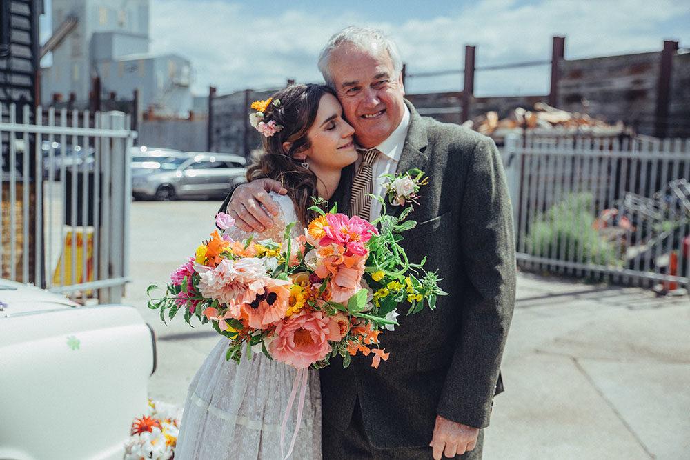 Orange Gown Wedding: Bright Orange Coastal Wedding At East Quay Whistable With