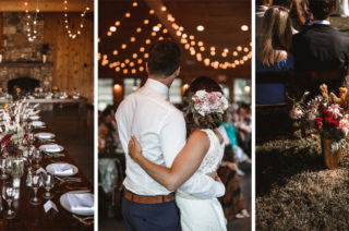 Outdoor Wedding at Claxton Farm in Weaverville, North Carolina | DIY Decor | Festoon Lights | Wild Flowers | Venus Bridals Gown | Benjamin Wheeler Photography