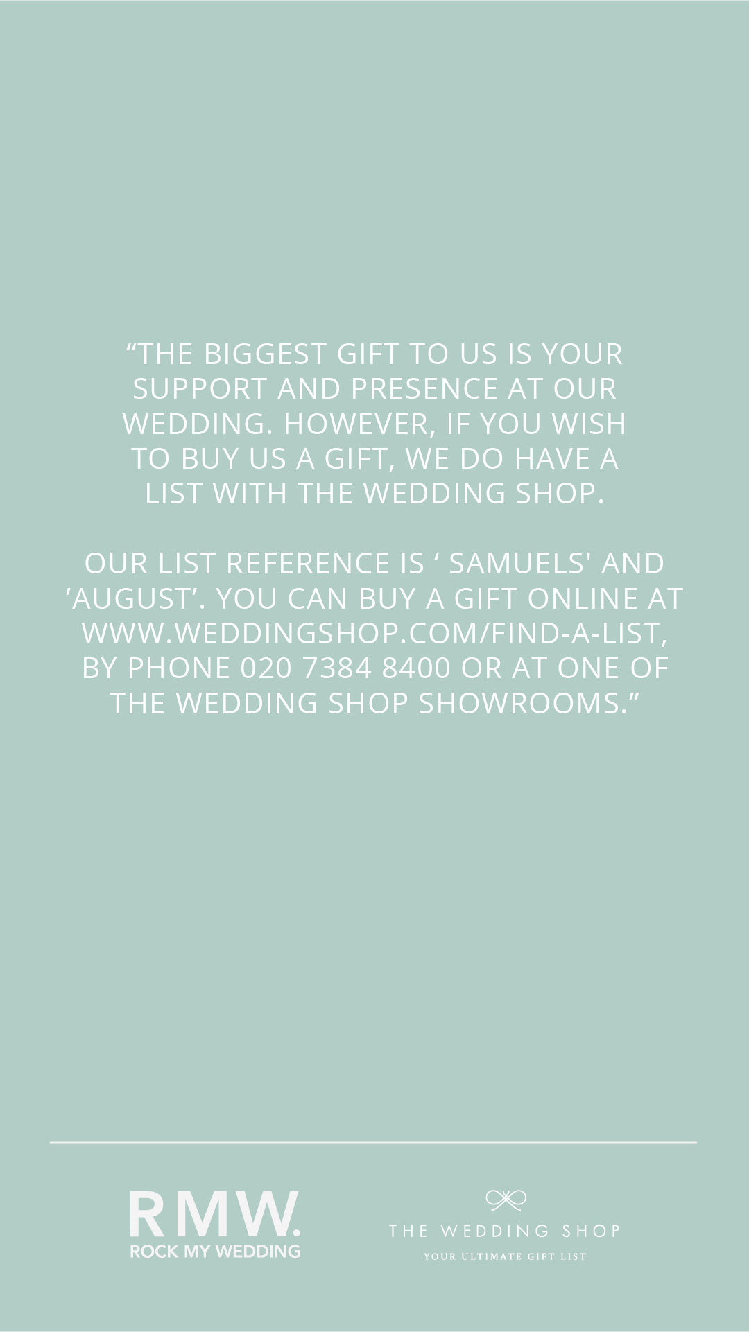 how to ask for wedding presents gift list with the wedding shop