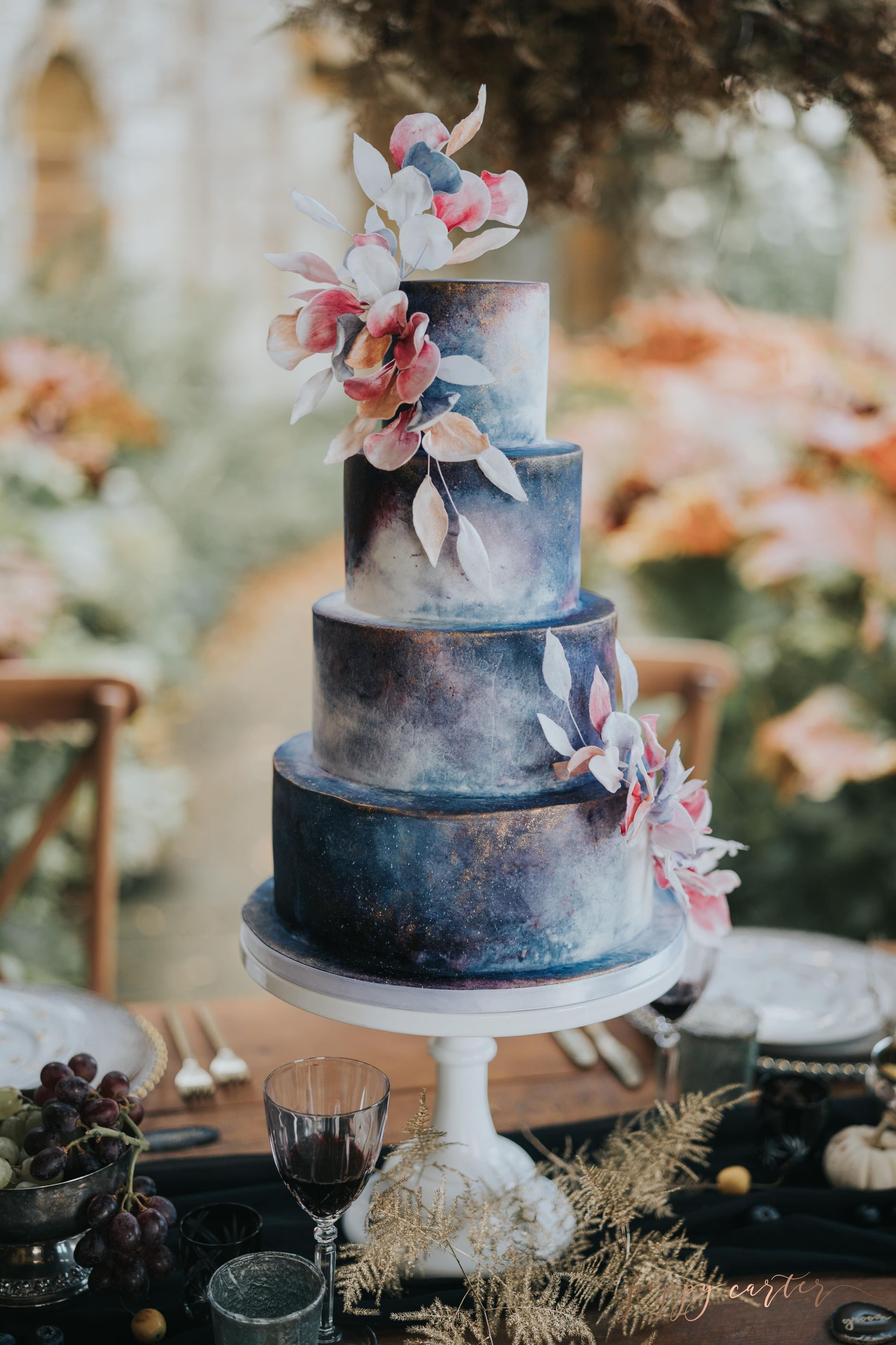 cherry tree cakerie blue and gold celestial hand painted wedding cake min