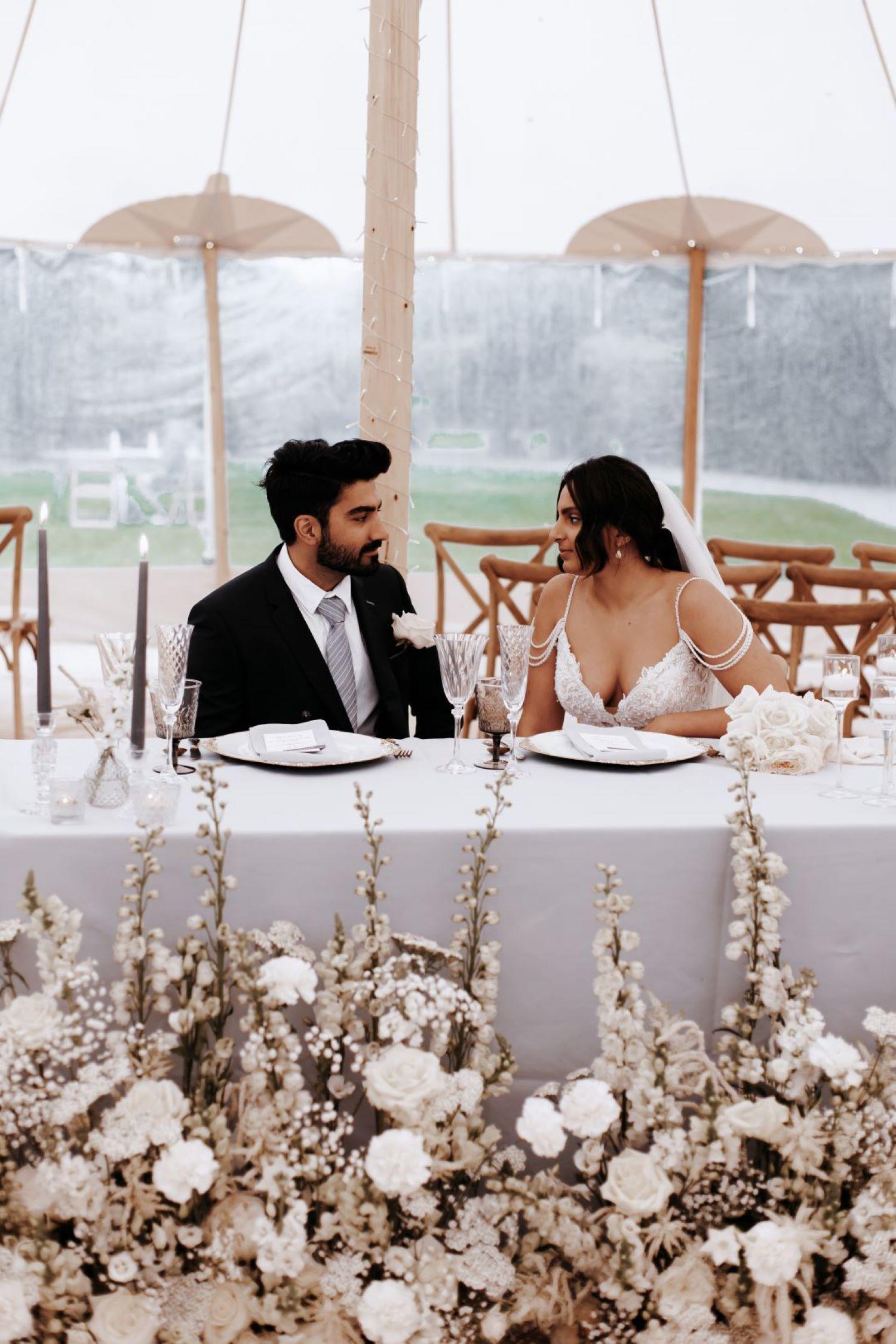 wonderful events sweetheart table white wedding