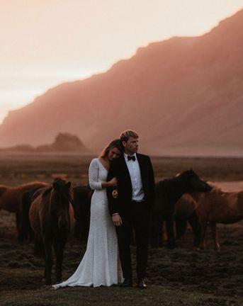 Iceland Elopement Wedding With Bride In Sequin Suzanne Harward Dress
