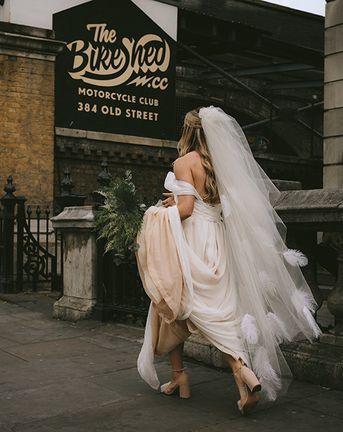 Bike Shed Motorcycle Club Wedding for ELLE Digital Editor   Bespoke Bridal Dress   Paul Smith Suit   Drag Queen   Nigel John Photography
