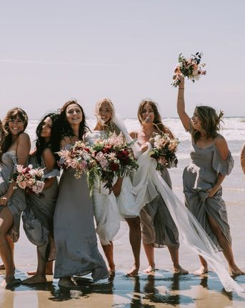 Mykonos Rewritten Bridesmaid Dresses for an Epic Clifftop Coastal Wedding with Bride in Grace Loves Lace Inca Gown, shot by Nic Ford Photography