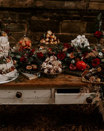 Bohemian Wedding Inspiration with Vintage Dresser Dessert Table