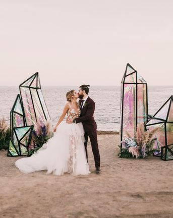 Spanish Beach Wedding with Iridescent Decor, Pampas Grass and Festival Vibes