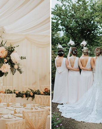 Floral Backdrop At Romantic Marquee Reception At Nettlestead Place