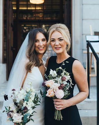 Black Bridesmaid Dresses At Autumn Wedding In East London