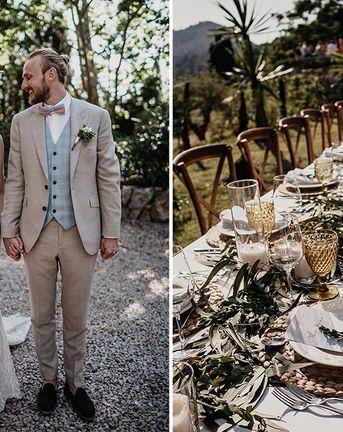 Beige Wedding Suit, Straw Hats & Sticker Album for Forest Wedding