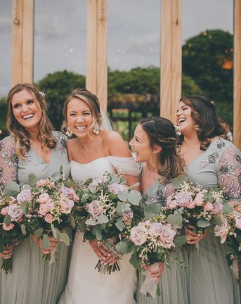 Flat Wedding Shoes and Mermaid Wedding Dress At The Tythe Barn