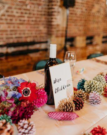 Pine Cone Wedding Decor at a Colourful Kitsch Wedding