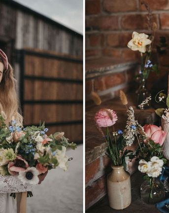 Lace Wedding Jacket & Seasonal Flowers at Willow Marsh Farm