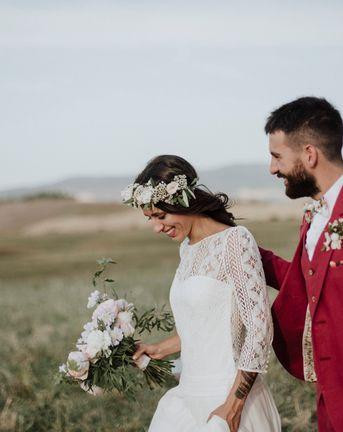 Laure de Sagazan Bride Dress for Italian Wedding with Groom in Red Suit