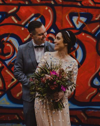 Tropical Flowers & Neon Signs at Sheffield Wedding with Industrial Styling