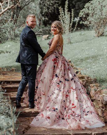 Floral Applique Wedding Dress