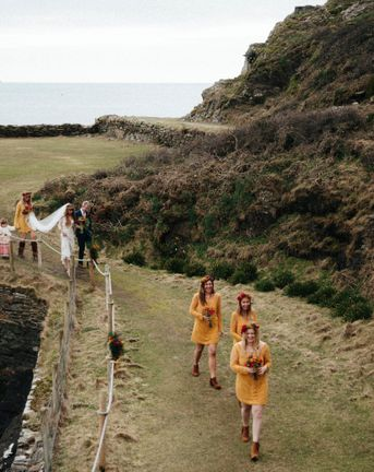 Yellow Bridesmaids Dresses For A Moroccan Inspired Wedding By The Sea // Images By Ben Selway Photography // Prussia Cove Cornwall
