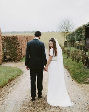 Bridesmaids In Cornflower Blue For Winter Wedding At Cripps Barn